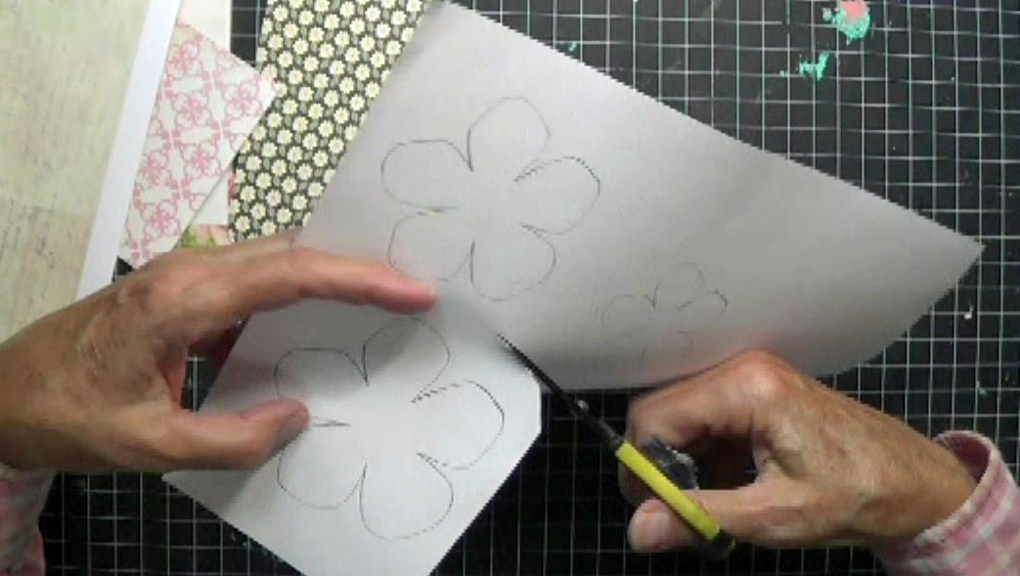 scrapbook paper flowers separating layers by cutting apart