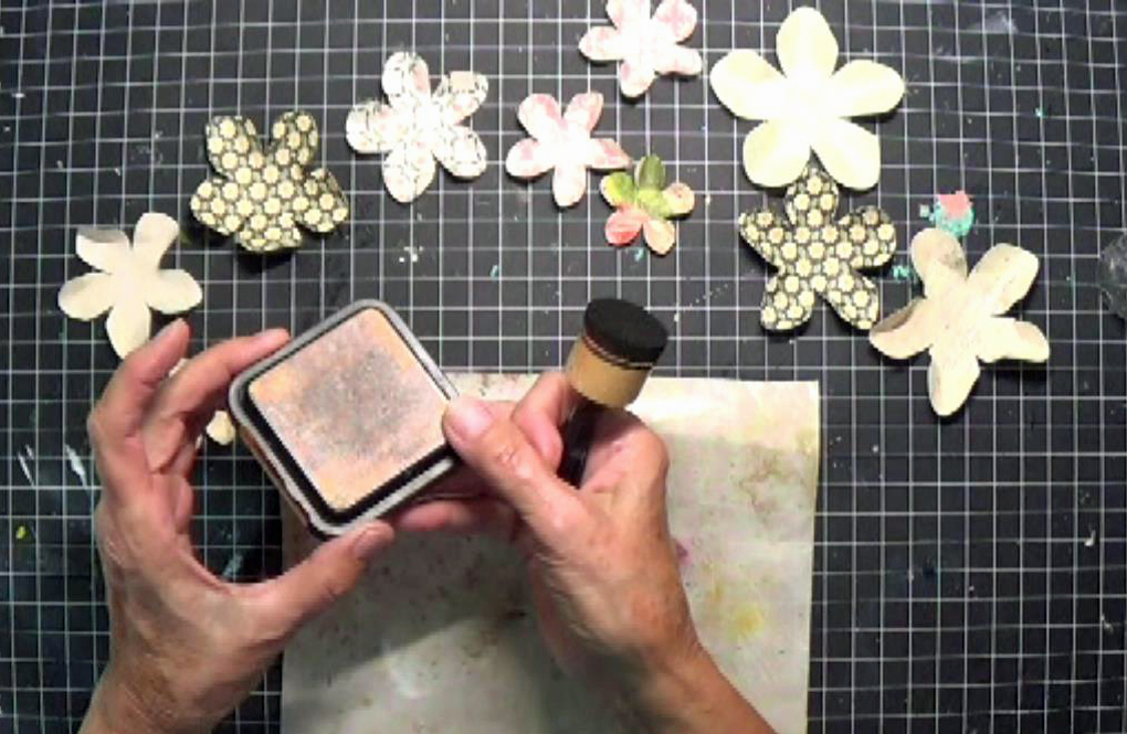 Ink the petal edge with Distress Ink