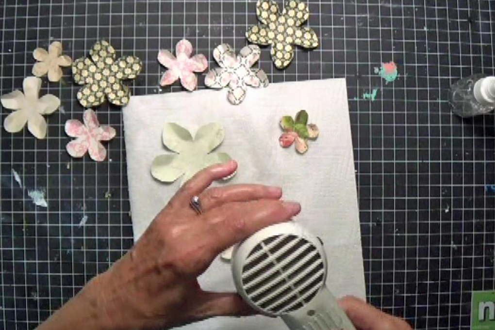 scrapbook paper flowers DIY drying with heat tool