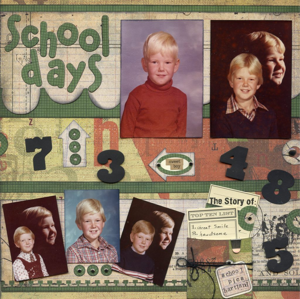 Completed right side of two-page layout with photos and embellies.