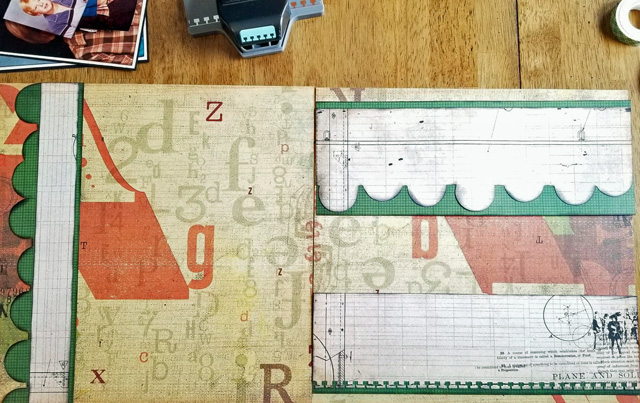Beginning 2-page layout featuring hand-cut scallop borders for scrapbooking school pictures.