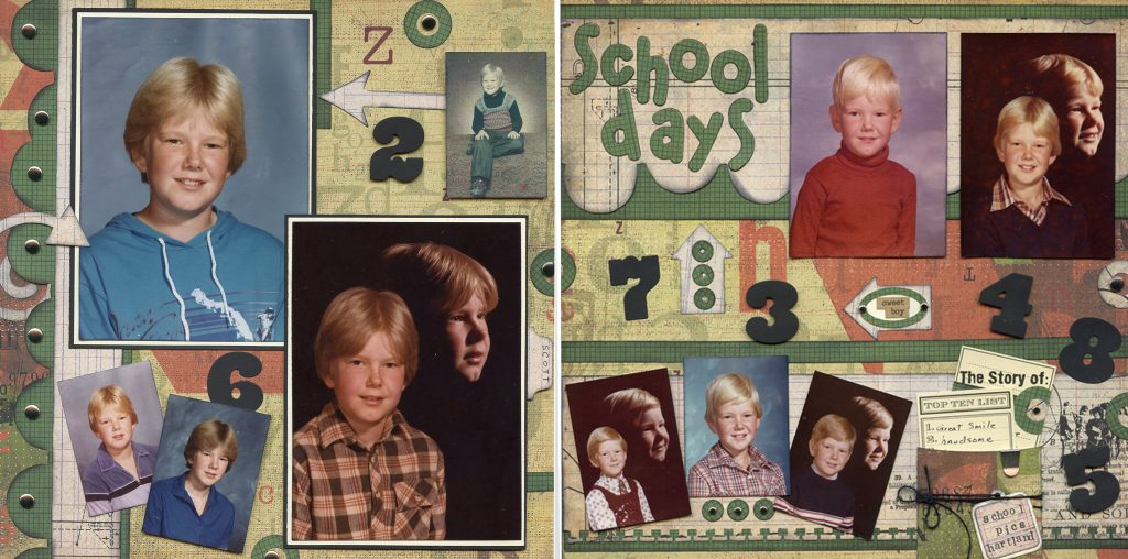 Completed two-page layout with photos and embellies for scrapbooking school pictures